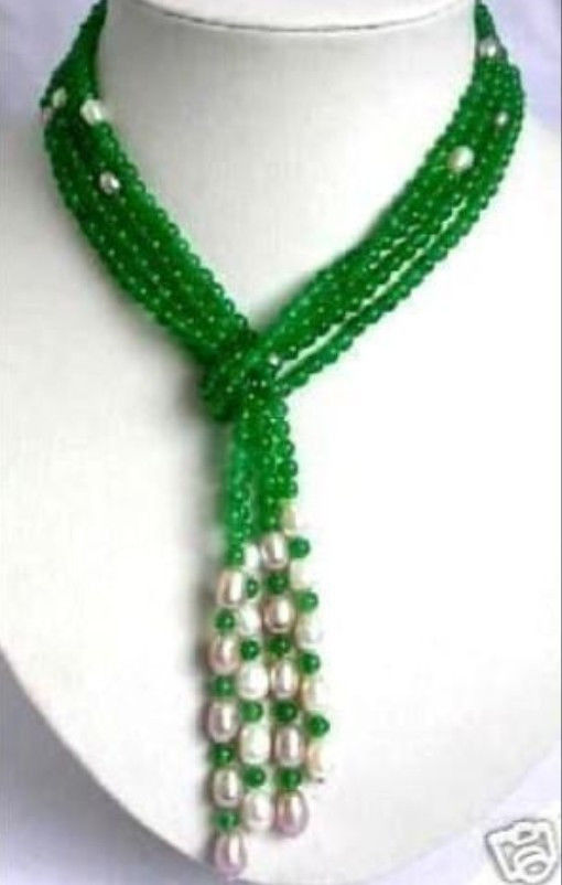 Free shipping@@@@@ Free shipping 6mm Green stone & White Pearl scarf form necklace 50 a hepa foam