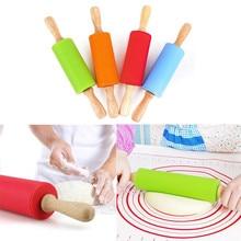 Деревянная ручка, силикон, роликовая Скалка, детский кухонный инструмент для выпечки