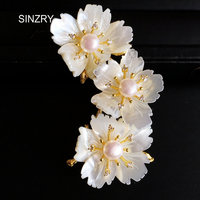 SINZRY Luxury DIY Natural Shell Three Flowers Brooch Pin Vintage Pearl Dressing Party Lady Brooches Hot