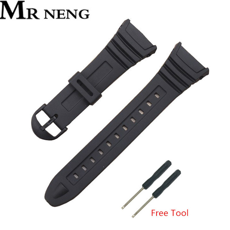 Mr Neng Soft Rubber Watch Band Stainless Steel Pin Buckle Watchband for W-96H Sports Men Women Watch Strap Bracelets with Tools цена