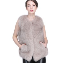 DHL Real Lamb Fur Lining Fox Fur Coat Wholeskin Full Blue Fox Fur Leather Vest Women Fur Waistcoat Short Design