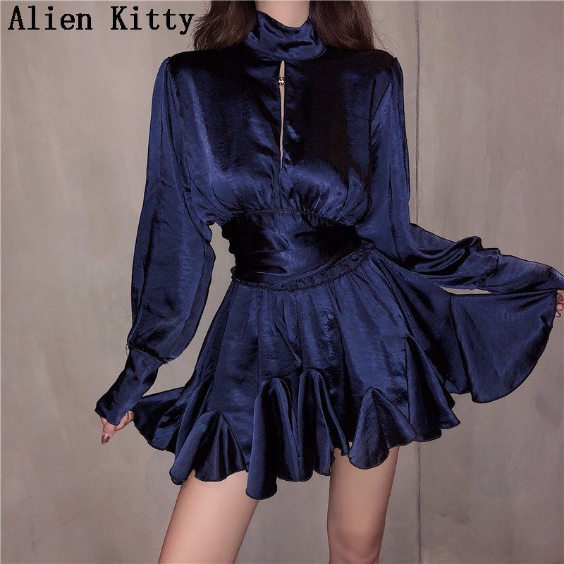 Alien Kitty 2019 Summer Hollow Out Bare Back Loose Solid Shirt+ Sexy Ruffles Pleated Skirts Simple All Match Sets Suit 2 Colors