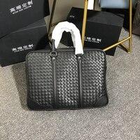 Индивидуальные Вощеная воловья Бизнес Мужские сумки из натуральной кожи вешалки Классический Досуг ручной вязаный портфель