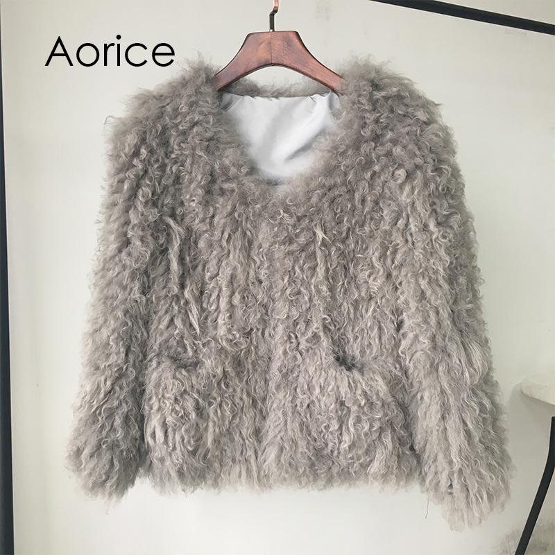 dd4ee88abd3 CR005 New ! fashion ! genuine Mongolia sheep fur /fleece fur knitted fur  coat grey color short style with pockets decorate-in Real Fur from Women's  Clothing ...