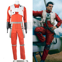 Star Wars The Force Awakens Cosplay Poe Dameron Costume X wing Pilot Uniform Outfits Orange Jumpsuit Halloween