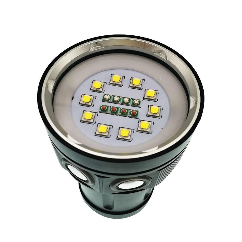 Super luminosité 12000 lumens 10 X CREE XM L2 lampe de poche de plongée professionnelle linternas torche étanche rouge/bleu UV LED - 3