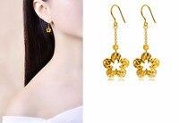 Модные однотонные 999 24 К желтого золота Серьги цветок Длинные висячие серьги 6.6 г