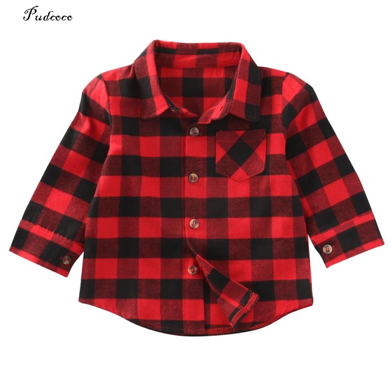 Новый стиль в осень 2017 Симпатичные для маленьких мальчиков и девочек Рубашка с длинными рукавами клетчатые Топы блузка одежда куртки одежд...