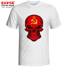 все цены на Mysterious Smile From Soviet Skull T Shirt Russia FlagPatriot Cartoon Cool Design Skate T-shirt Casual Active Men Women Tee