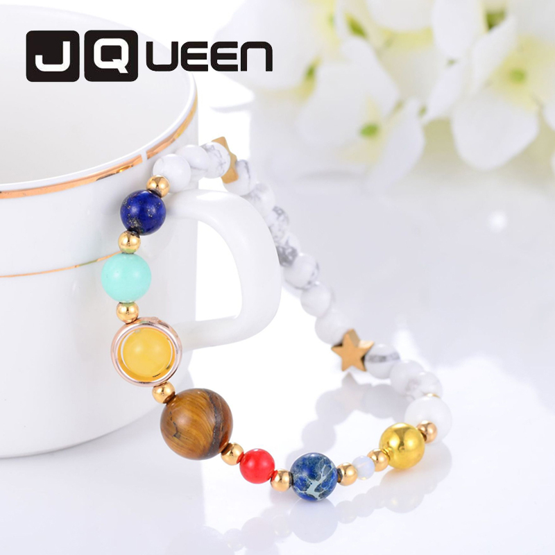 Universe Galaxy the Eight Planets Solar System Guardian Star Women Man Natural Stone Beads Bracelet