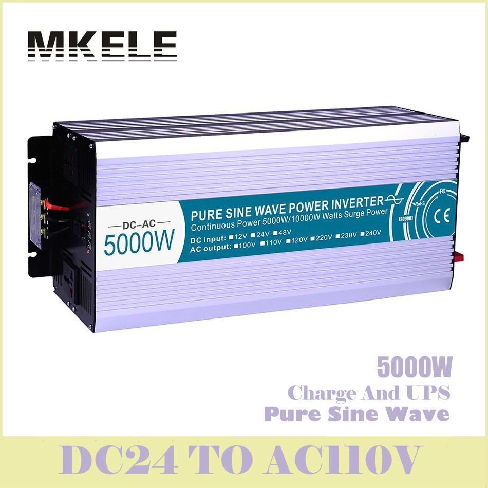 MKP5000-241-C 5000w Pure Sine Wave Solar Inverter 24v Dc To 110v Ac Voltage Converter With Charger And UPS Digital Display China 5000w dc 48v to ac 110v charger modified sine wave iverter ied digitai dispiay ce rohs china 5000 481g c ups