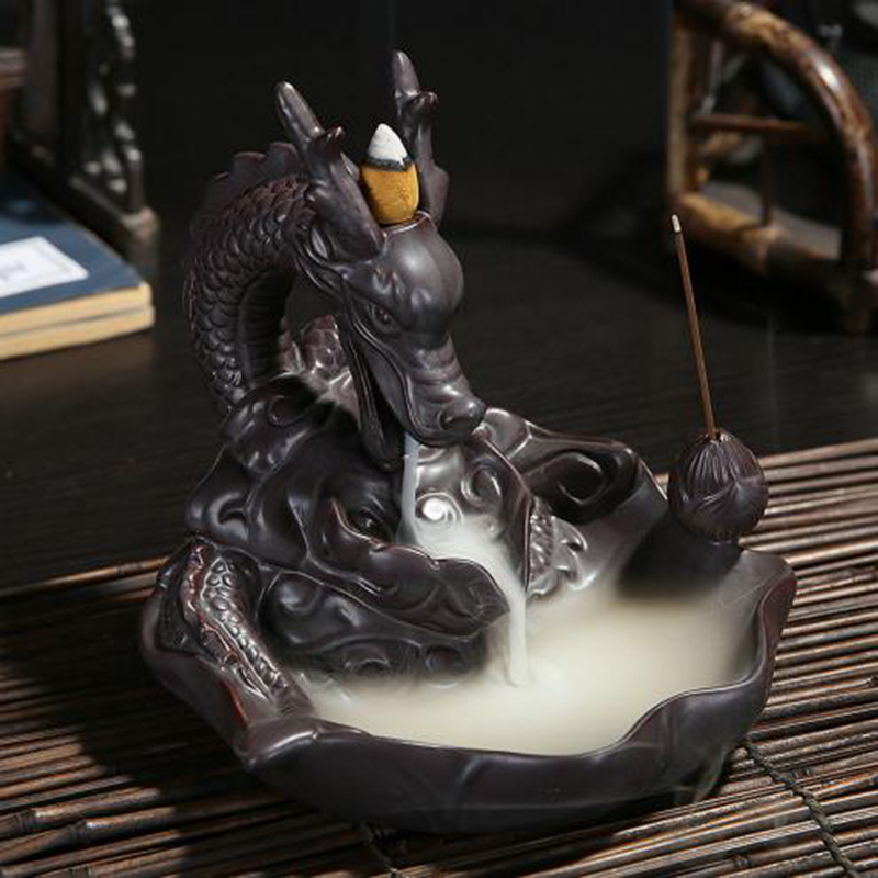 Ceramic Dragon Incense Burner Smoke Backflow Like Water Streaming Down Art Craft Incense Cone Furnace 20 Cone Incense as Gift