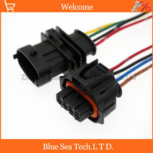 5 Pairs 4 Pin B.K 3.5mm Auto senser connector,diesel common rail injector/intake pressure plug with cable for Bosch connector