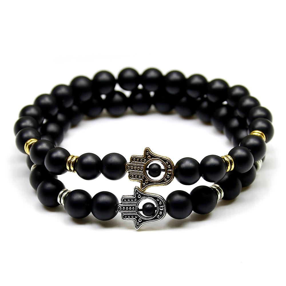 8mm Black Natural Matte Bead Stone Beaded Bracelet Women eye Palm Hand Bracelet Men Eye Amulet Bracelets For Men Jewelr