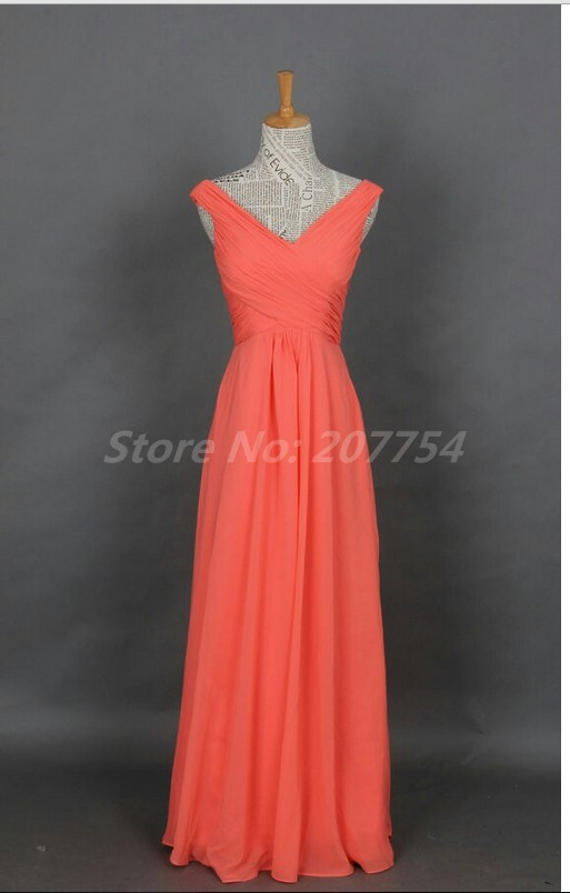 Elegant brief dress v neck cheap coral bridesmaids dresses for Elegant wedding party dresses
