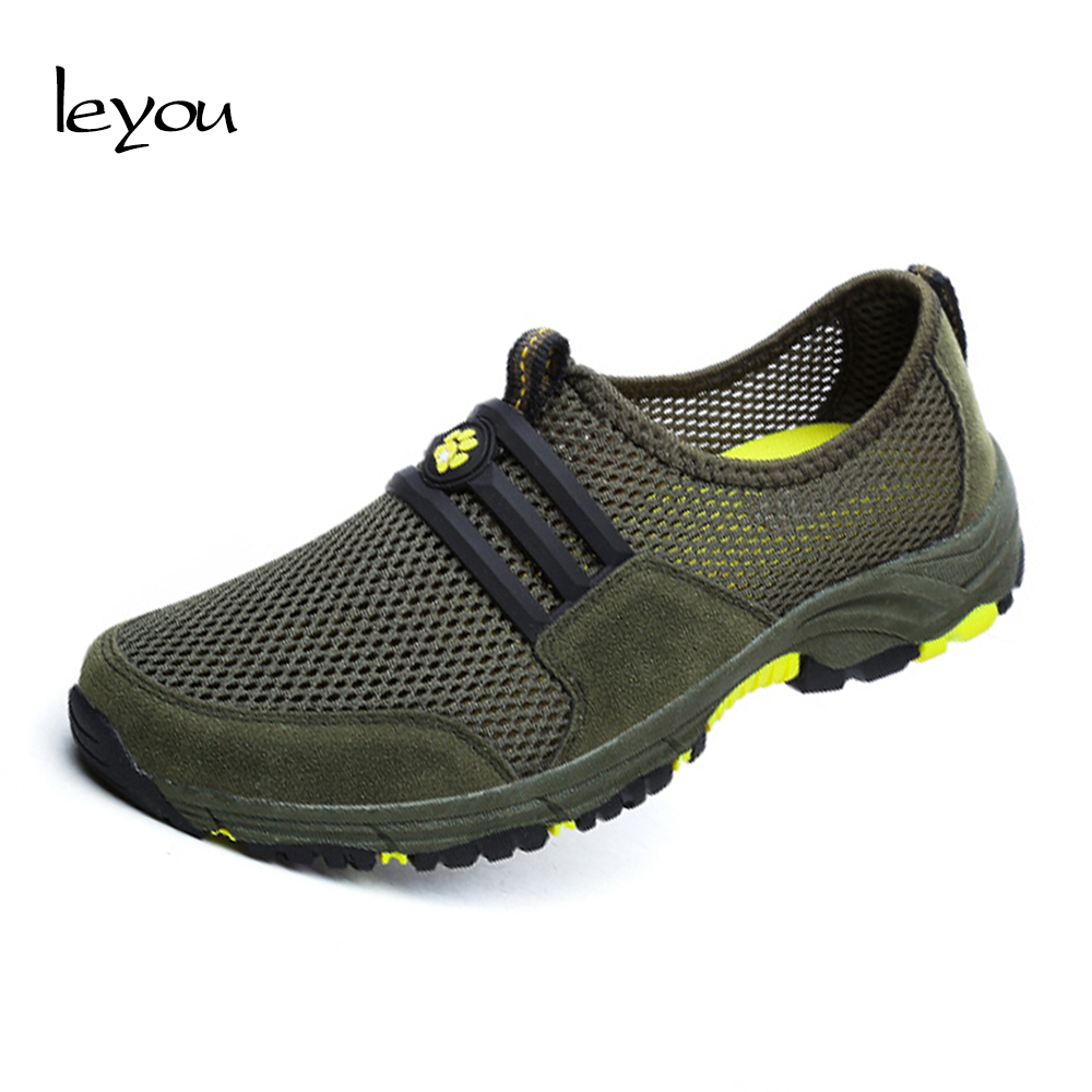 Leyou Mesh Sneakers Casual Shoes Men Loafers Moccasins Flat S Shoes Sneakers Slip On Loafers New