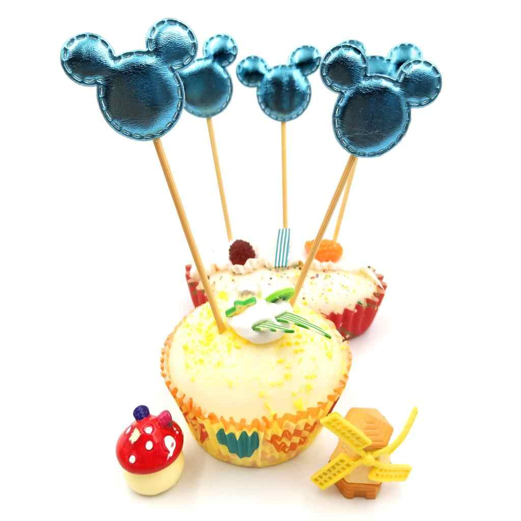 5 Pcs/lot Biru Mickey Mouse Cupcake Toppers Dekorasi Pesta Ulang Tahun Baby Shower Pesta Anak Perlengkapan Kue Toppers Set