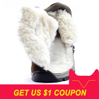 Men boots 2018 winter genuine leather shoes warm thick wool men ankle snow boots non slip winter boots for 40 degrees