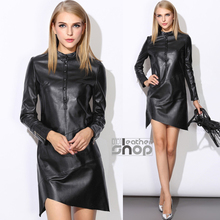 Autumn and winter fashion genuine leather dress women's medium-long sheepskin solid color irregular long-sleeve pullover dress