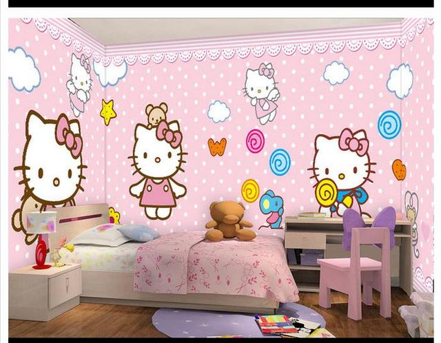 free shipping 3d custom wall paper 2015 pink kitty cat and the mouse mural wallpaper home - Pink Home 2015