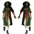 Estilo de moda verão meia manga sext africano impresso camisas longas T elegante frente slit estilo national party club T shirts O neck