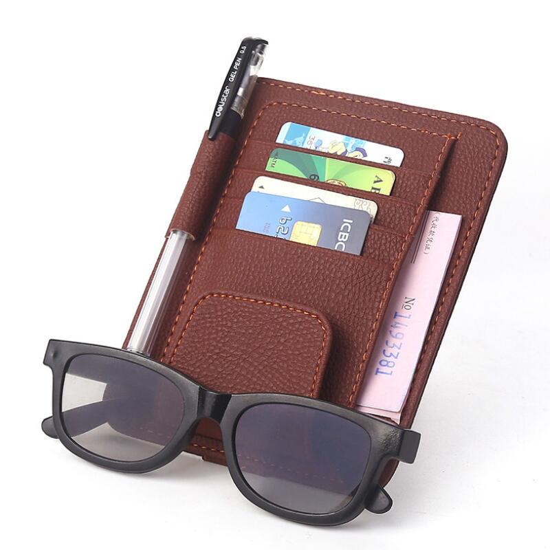 Leather Auto Visor Storage Bag Car Sunvisor Card Bags Glasses Bill Pen Holder Stowing Tidying Car Organizer