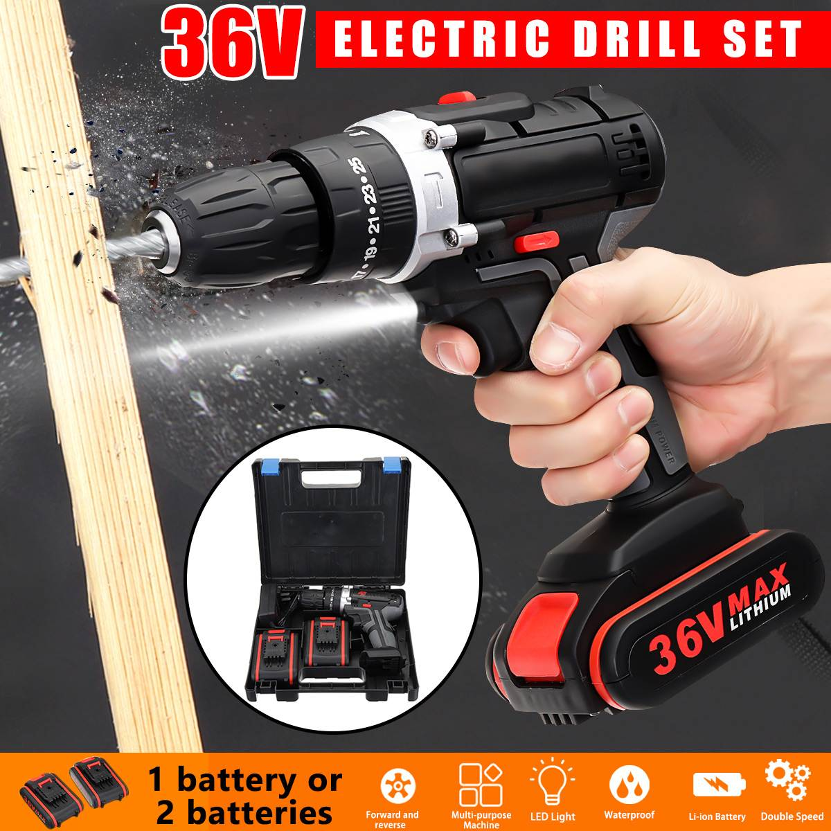 3 In 1 36V Electric Cordless Drill Power Driver Lithium-Ion Battery Rechargable Screwdriver Drill Machine 18+1 Torque Power Tool
