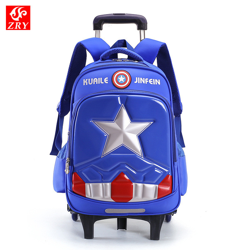 Kids 2/6 Wheels Removable Trolley Backpack Star Wheeled Bags Children School Bag for Boys Travel Bags Child School Backpack