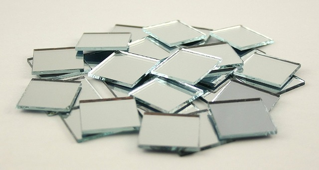 XCM Small Glass Square Craft Mirrors Bulk Pieces Mosaic Tiles - 5x5 mirror tiles