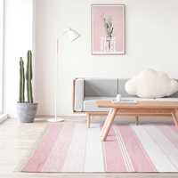 Kilim 100 Cotton Blue Handmade Carpet Geometric Bohemia Indian Rug Plaid Striped Modern Black Grey Pink