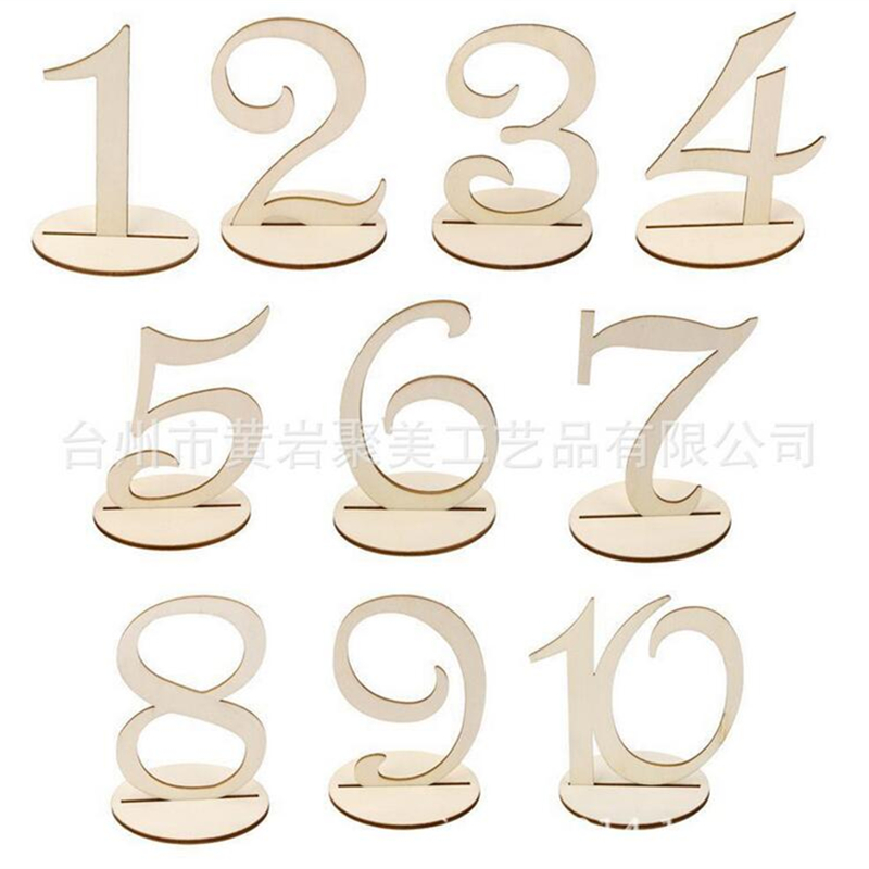 Wooden Freestanding 1-10 Table Number Sign Stand Wedding Party Home Decor