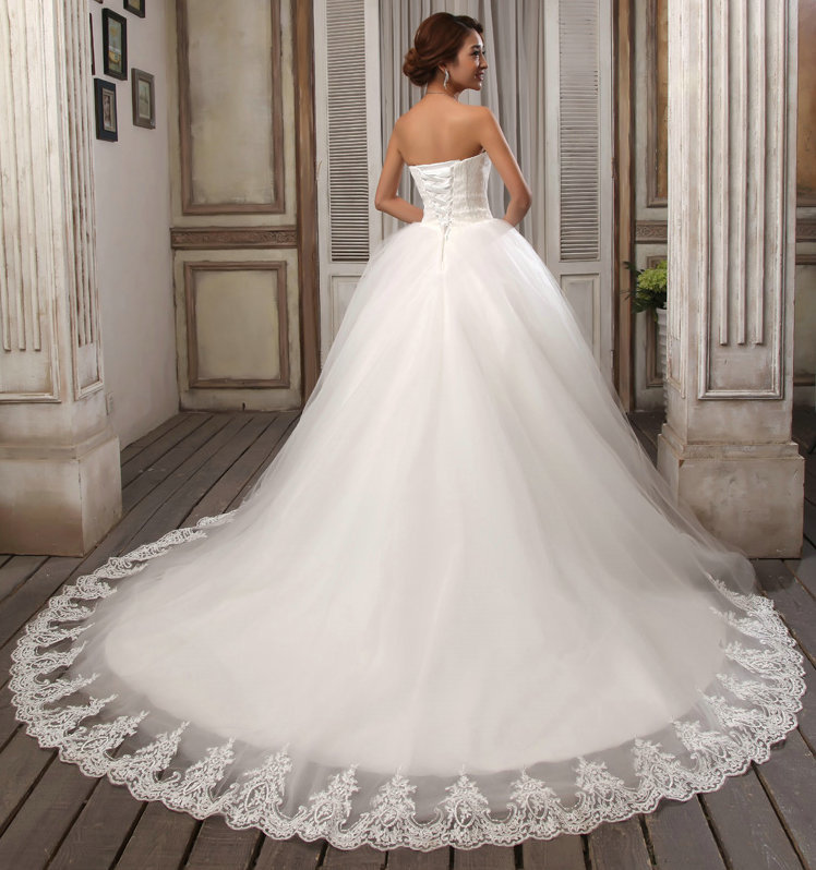 LAMYA свадебное платье со шлейфом дешевые знаменитостей без бретелек Винтаж Тюль Свадебное бальное платье органза кружева свадебные платья - Цвет: NO2 Lace Train