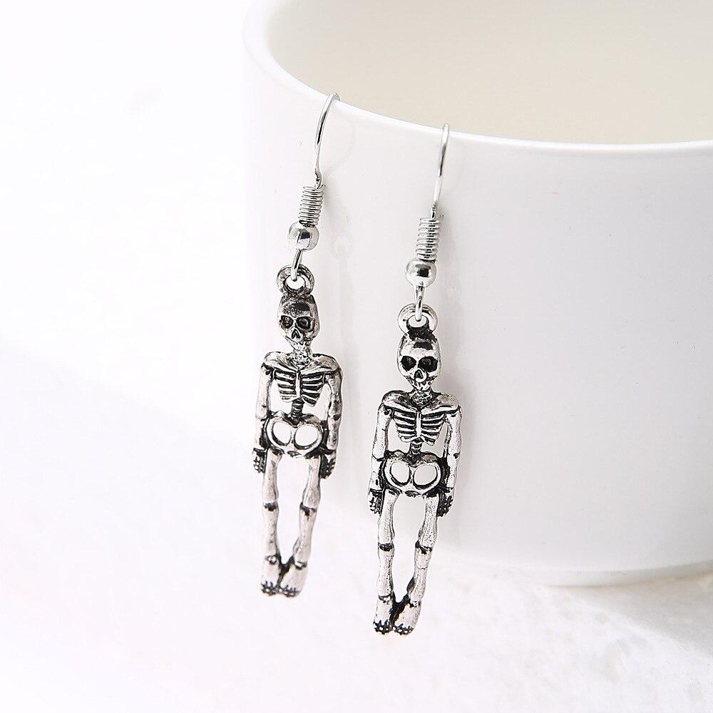Skull Earrings Jewelry Skeleton Halloween Silver Antique Vintage Women New-Fashion