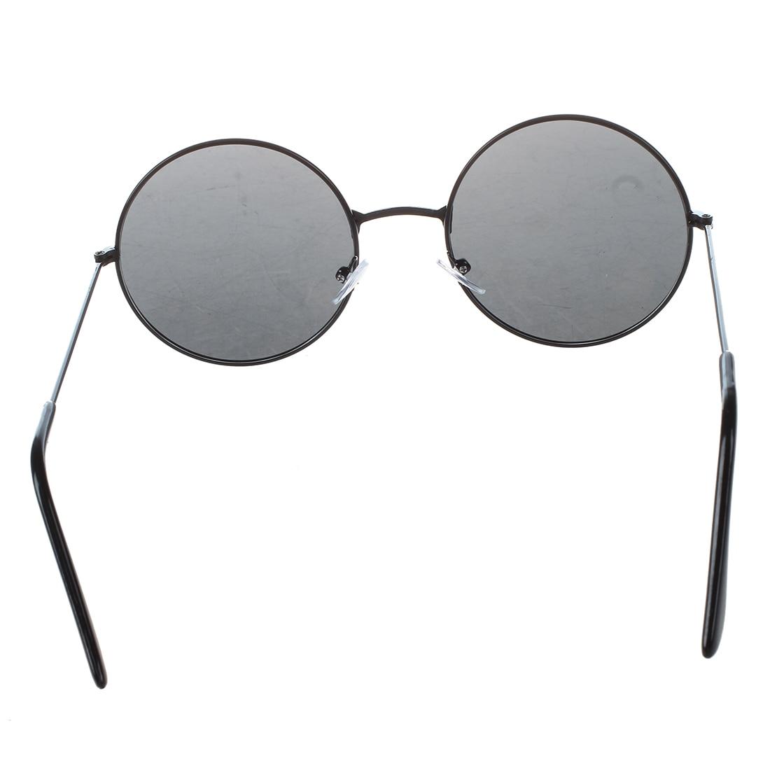 Trendy Men Women Metal Frame Black Lens Round Sunglasses Glasses Eyewear