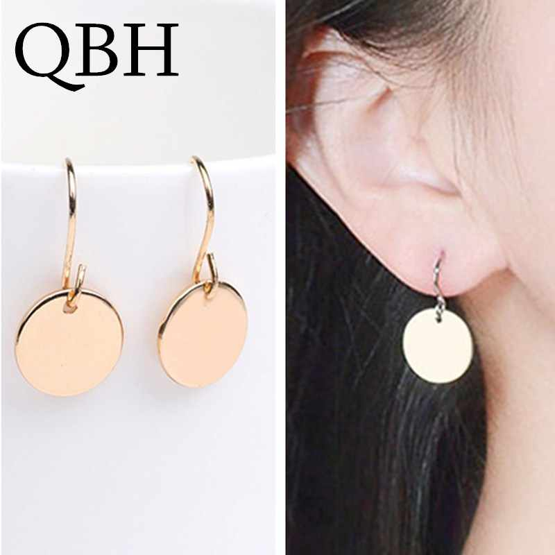 EK956 New Fashion Minimalist Punk Coin Dangle Earing Geometric Tiny Circle Wafer Drop Earrings For Women Jewelry Pendientes