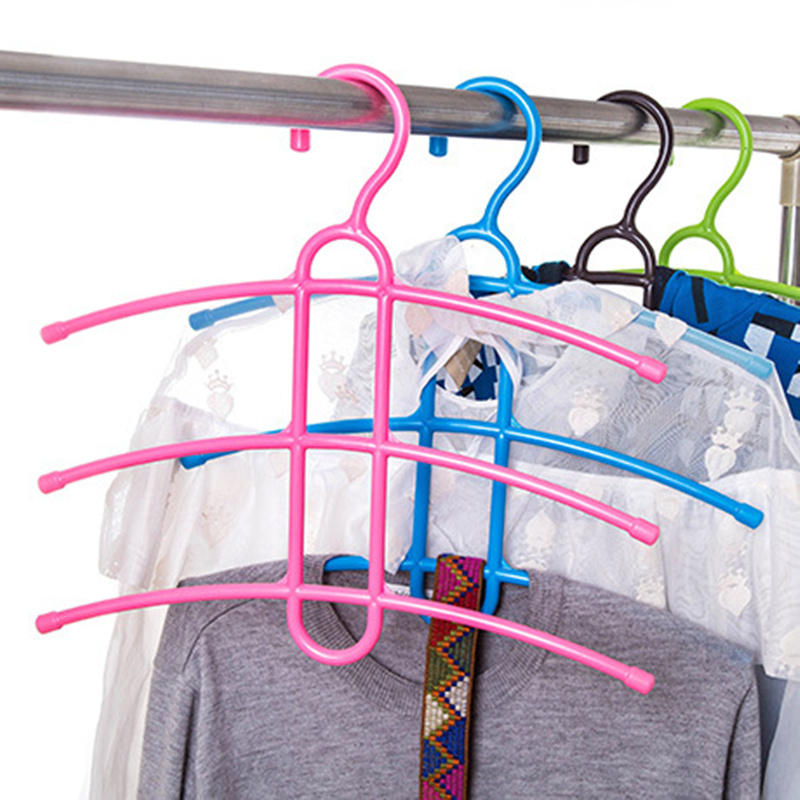 Three Layer Anti-skid Plastic Racks of Fishbone Clothes Hanger Clothes Rack Multifunctio ...