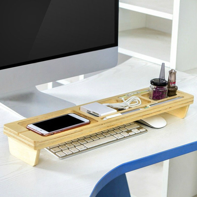 space saver desk wooden desktop stand box keyboard storage boxes bins space saving organizer wood shelf