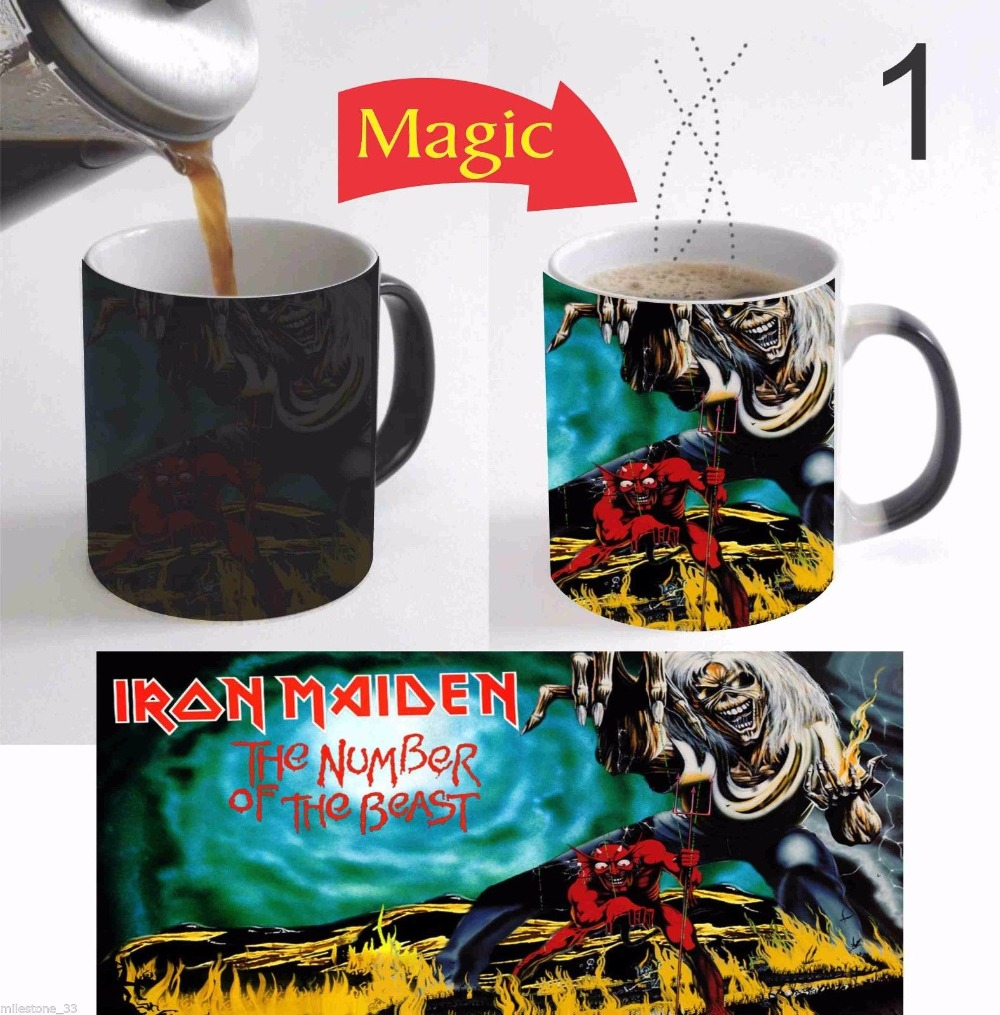 Video Juego de Iron Maiden tazas de calor que cambia de color de transferencia d