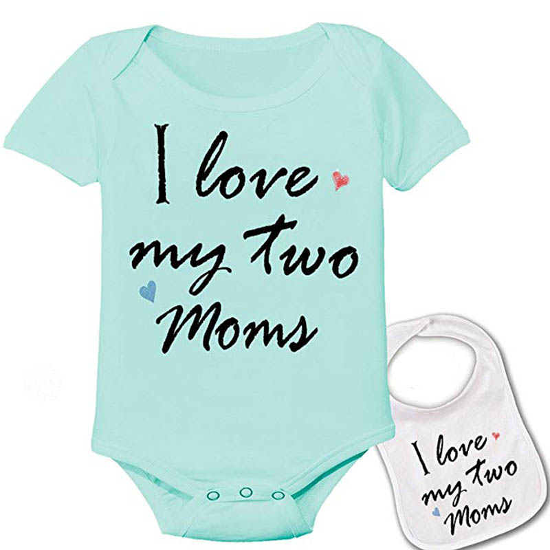 Culbutomind I Love My Two Moms And Dads Unisex Baby Custom Printed Star Wars Baby Bodysuit And Matching Bib Gift Showing Set