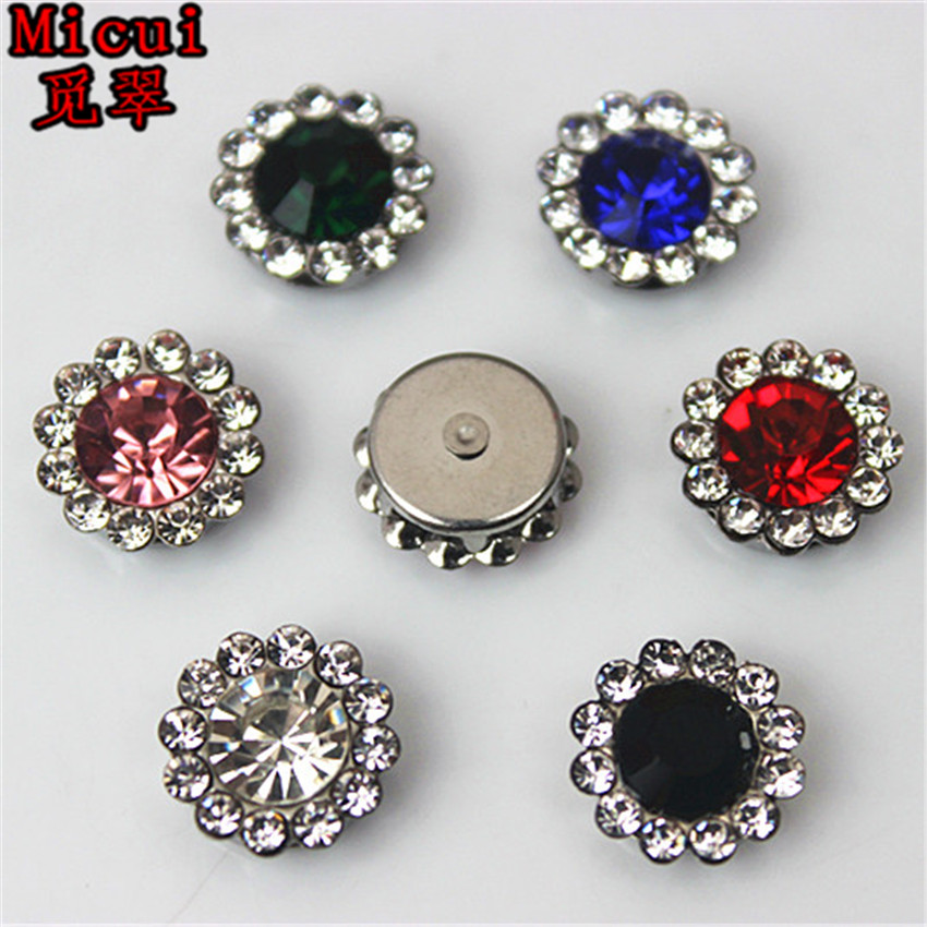 Micui 30PCS 12mm flower Rhinestone Crystal Mix color with Setting Stainless steel support Crafts Dress Garment Decoration ZZ684