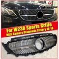Для MercedesMB W238 Sports Diamond grill решетка ABS серебристый с камерой E Class E200 E250 E300 E350 E400 E500 E63 look 2016-2018