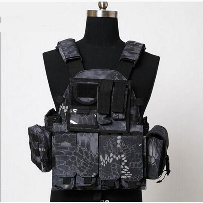 Men Outdoor Hunting Shooting Nylon Waistcoat Molle Tactical Military Paintball CS Wargame Protective Chest Vest Gear with Pouch