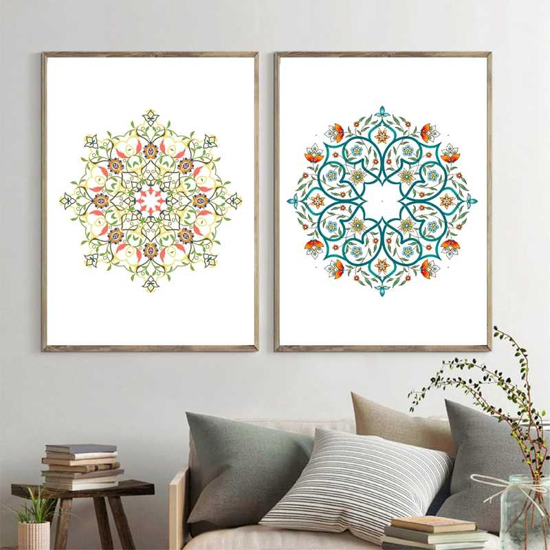 Hand Drawn Mandala Pattern Prints Turkish Style Poster Arabesque Bright Floral Islamic Canvas Painting Wall Picture Home Decor