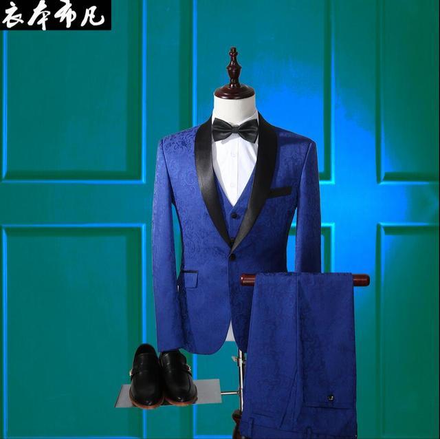 Ternos dos homens novos Magro vestido de festa high-end personalizado três-peça flores terno do casamento do noivo vestido formal trajes cantor roupas