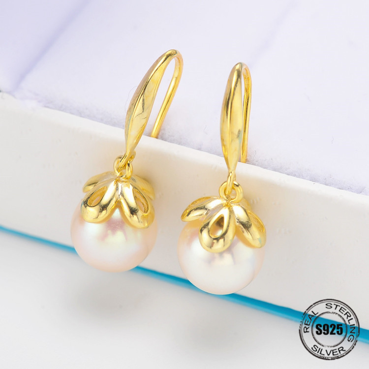 Brand New Hot Sale Temperament Elegant Sweet Natural Pearl Earrings For Women Silver 925 Jewelry Silvery/Golden Colors