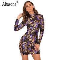 Abasona Women Evening Party Dresses Sparkle Lace Up Sequin Dress 2018 New Back Zipper Long Sleeve