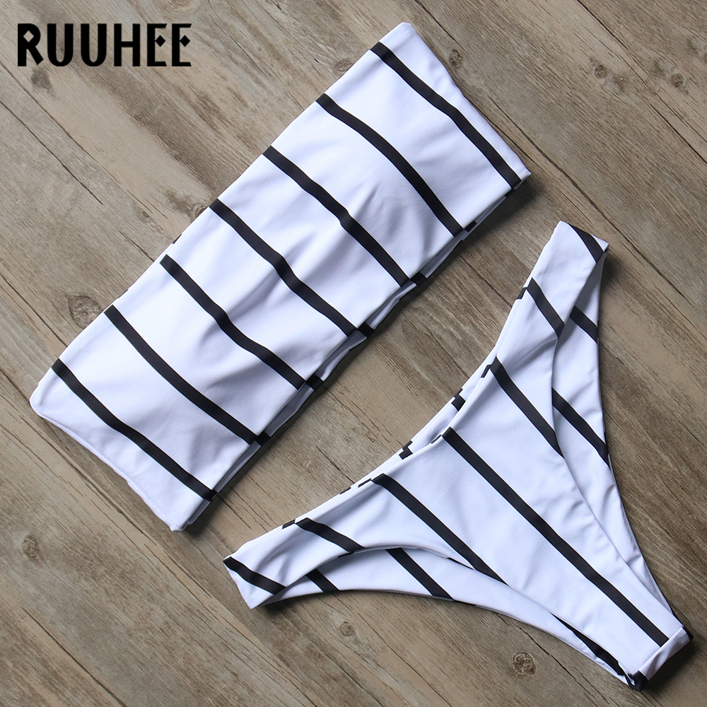 RUUHEE Swimwear Bandeau Bikini Set Women Swimsuit Bikini Push Up Bathing Suit With Pad Swimming Suit Summer Female Beachwear bandeau bikini woman two piece bikini set sexy hollow bottoms swimwear padded push up swimsuit retro bathing suit 2017 beachwear