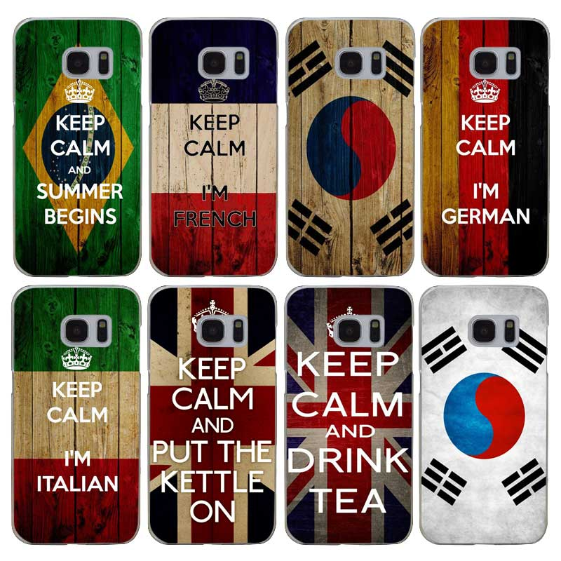 G533 Keep Calm And Carry On Flag Transparent Hard PC Case Cover For Samsung Galaxy S 3 4 5 6 7 8 Mini Edge Plus Note 3 4 5 8