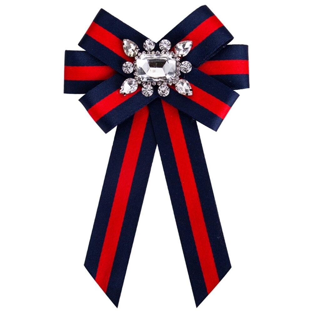 Lmikni Новый привязаны ленты брошь для Для женщин Кристалл Grosgrain ленты лук брошь ювелирные изделия на заказ аксессуары