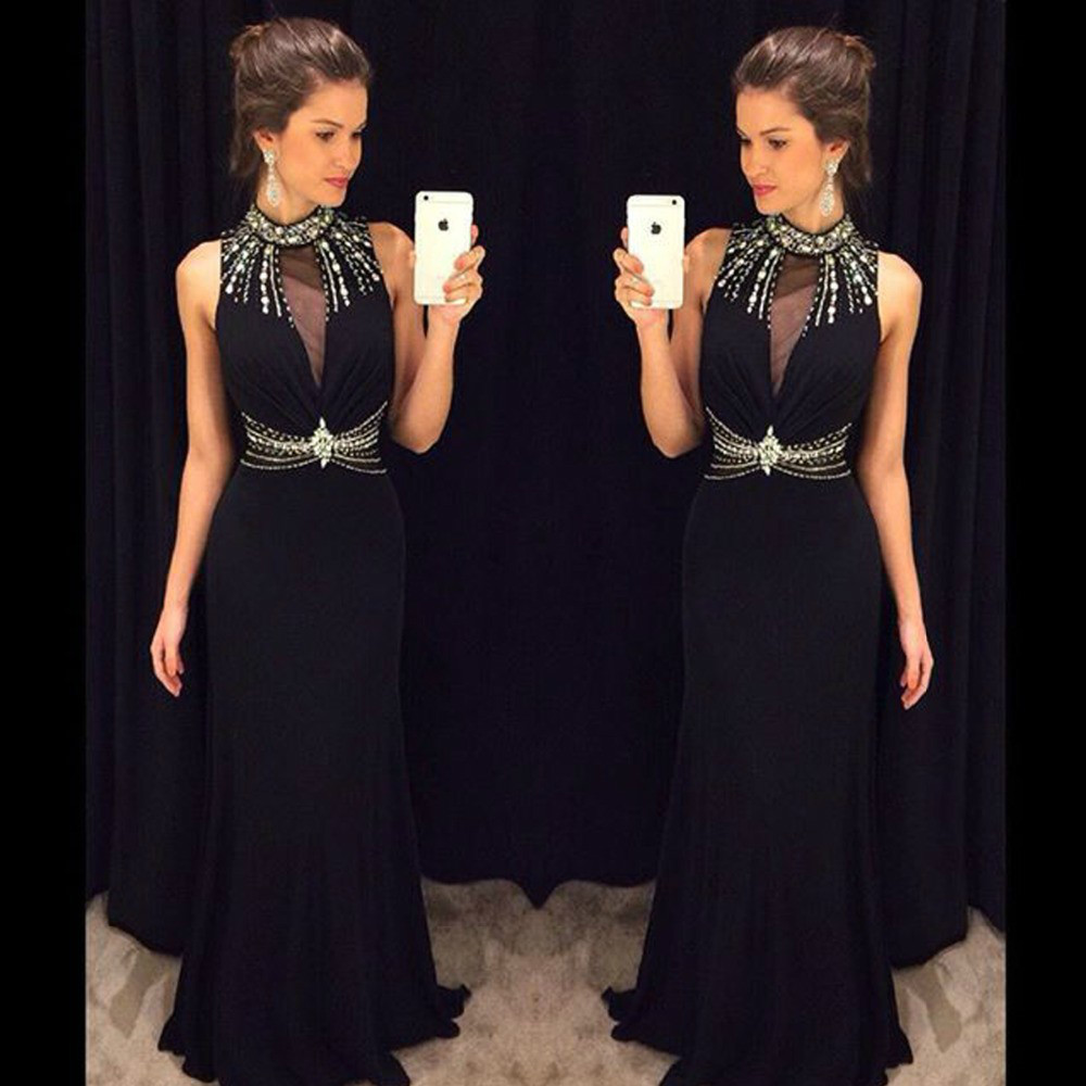 New Amazing Black   Prom     Dresses   2017 High Neck Sleeveless Mermaid Floor Length Beading Chiffon Long Evening   Dress   Vestido longo
